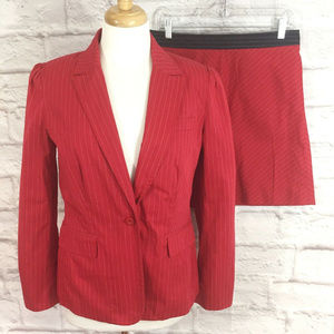 Tommy Hilfiger Size 8 Skirt Suit Red Pinstriped